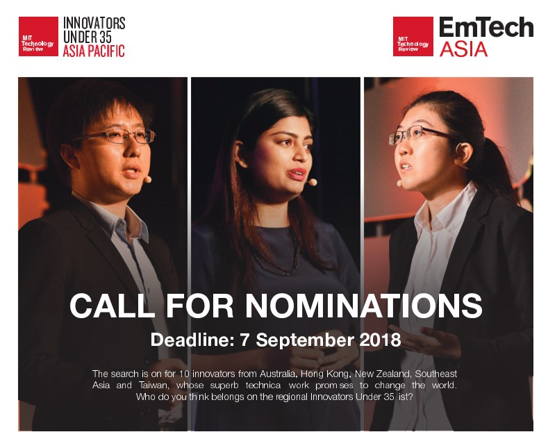 Call for Nominations - Innovators Under 35 Asia Pacific 2019 Regional Competition