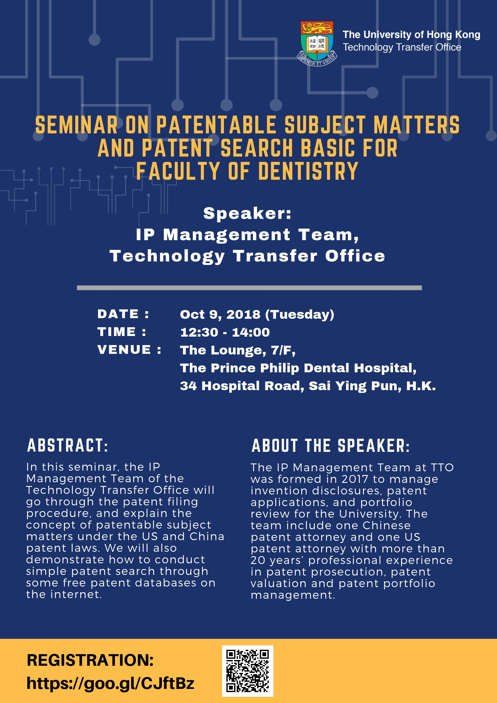 Seminar on Patentable Subject Matters and Patent Search Basic for Faculty of Dentistry